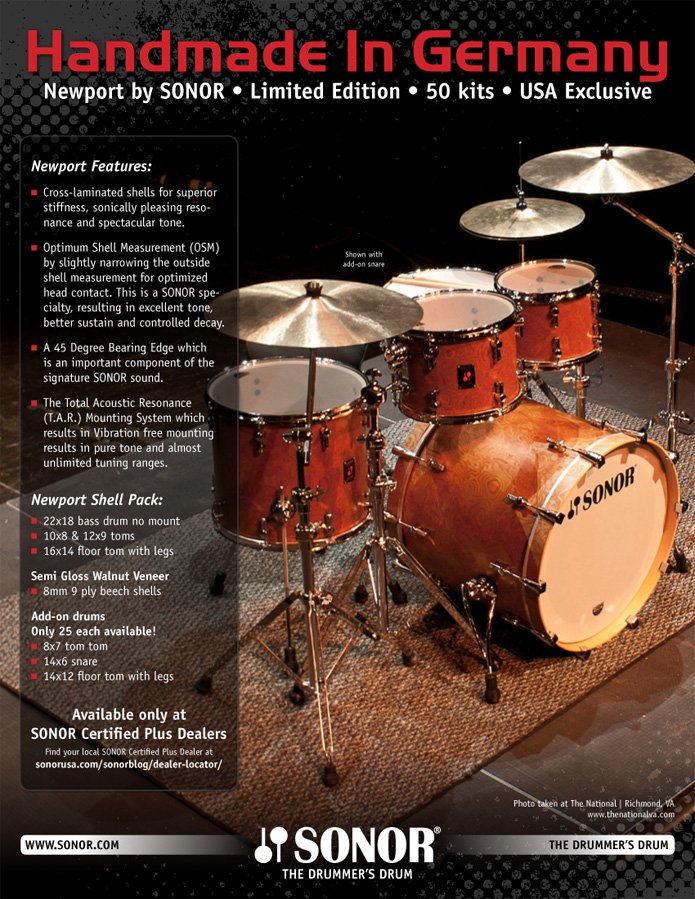 2000 Print Ad of Hohner Sonor S-Class Maple Drum Kit